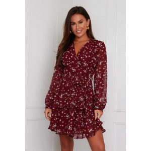 Wine Floral Chiffon Skater Dress