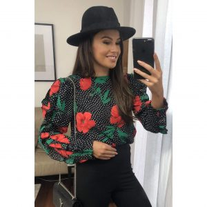 Black Polka Dot and Floral Frill Long Sleeve Top
