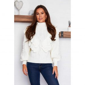 Cream Ruffle Knit Jumper