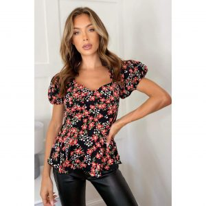 Red Floral Sweetheart Neck Peplum top