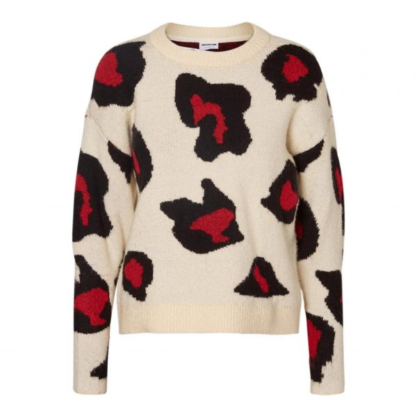 Cream and red Leopard Jumper