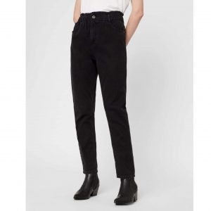 Black Paperbag Waist Mom Jeans