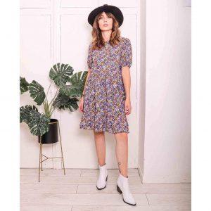 Purple Floral Puff Sleeve Mini Dress