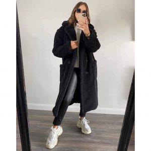 Black Longline Teddy Coat
