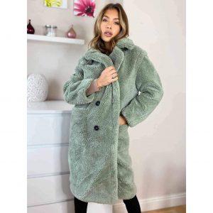 Mint Longline Teddy Coat