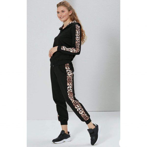 Black and Leopard Print Loungesuit