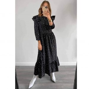 Black Polka Dot Frill Smock Maxi Dress