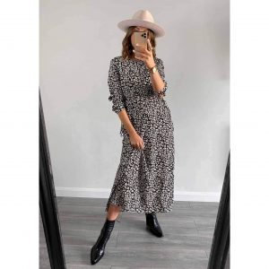 Black and Tan Leopard Midi Dress