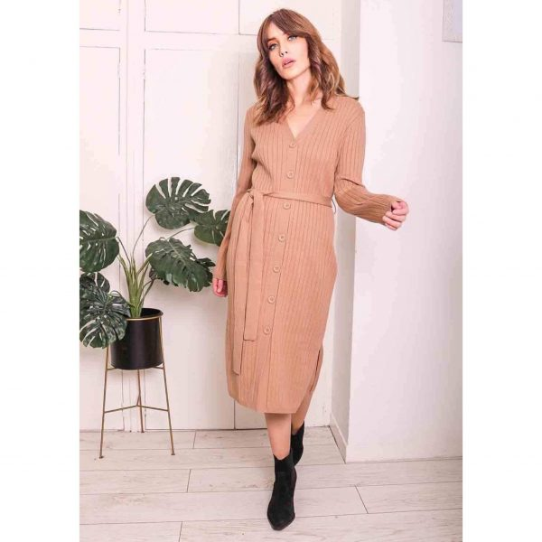 Camel Ribbed Button Dress with Belt