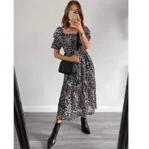 Black and White Puff Sleeve Smock Midi Dress