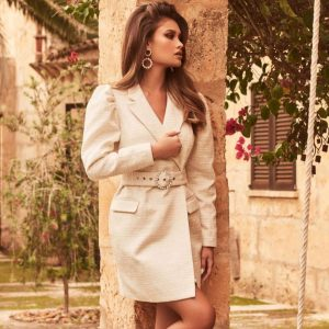 Circle Buckle Puff Sleeve Boucle Blazer Dress in White Boucle