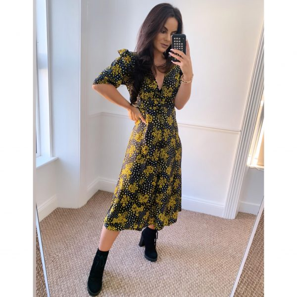 Black and Yellow Floral Midi Dress