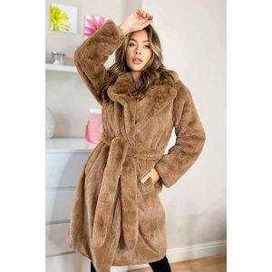 Camel Longling Belted Faux Fur Coat