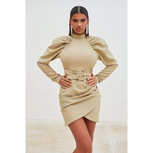 High Neck Pleated Raglan Mini Dress in Olive