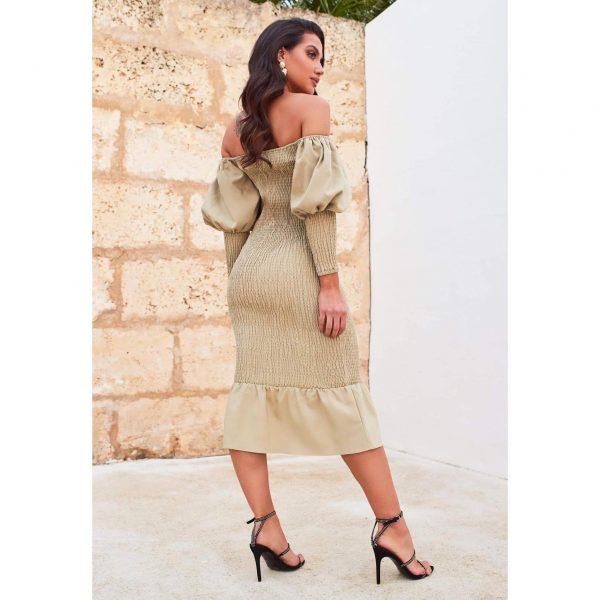 Bardot Shirred Midi Dress in Olive Green