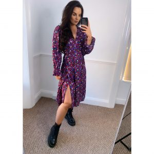 Purple Floral Wrap Dress