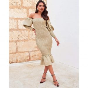Bardot Shirred Midi Dress in Olive Green