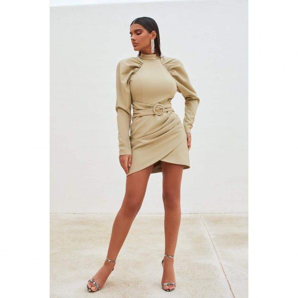 High Neck Pleated Raglan Mini Dress in Olive