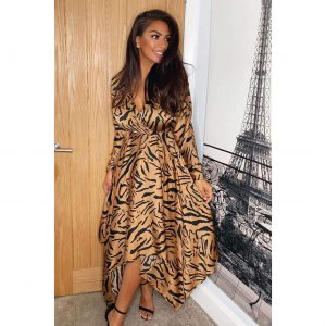 Satin Tiger Print Scarf Hem Dress