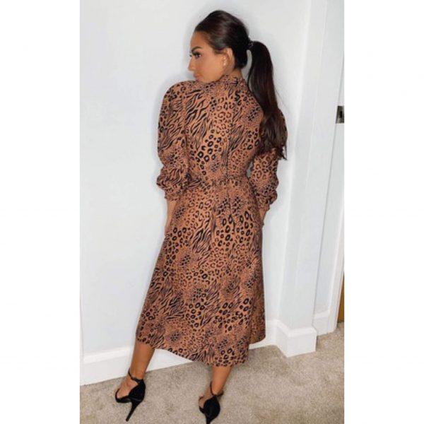 Leopard High Neck Dress