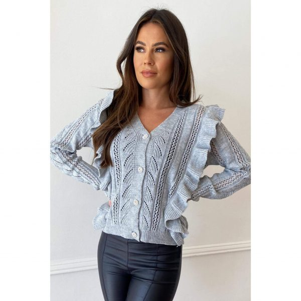 Grey Frill Knit Cardigan with diamante buttons