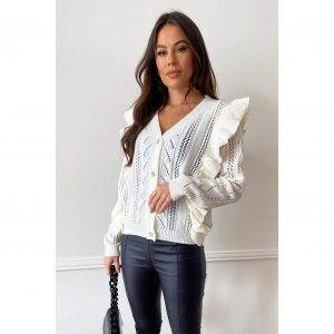 Cream Frill Knit Cardigan with diamante buttons
