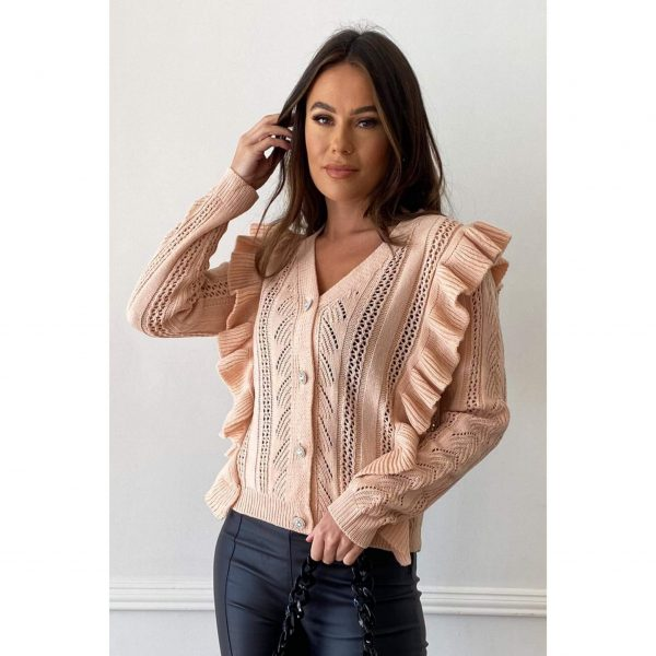 Peach Frill Knit Cardigan with diamante buttons