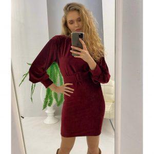 Burgundy Velvet Belted Dress