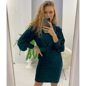 Bottle Green Velvet Belted Dress