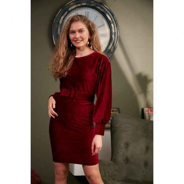 Burgundy Velvet Belted Dress
