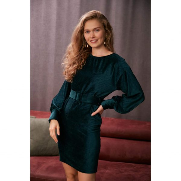 Bottle Green Velvet Belted Dress