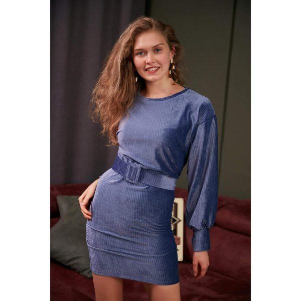 Blue Velvet Belted Dress