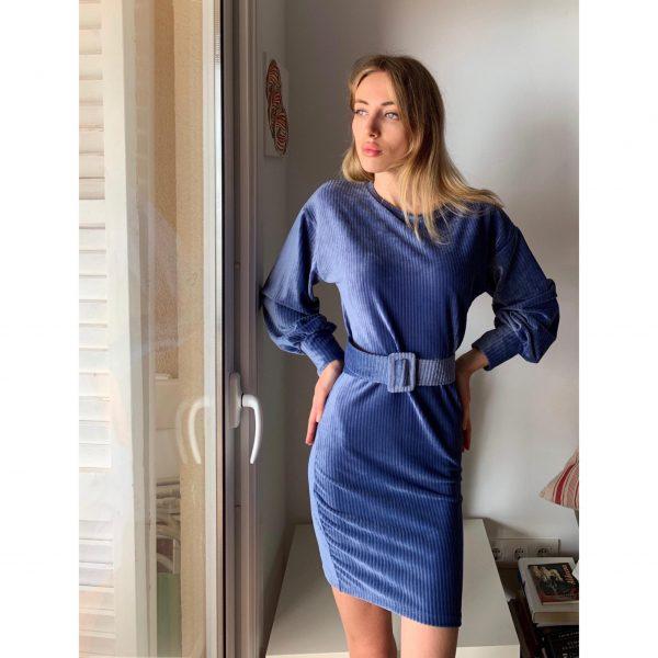 Denim Blue Velvet Belted Dress