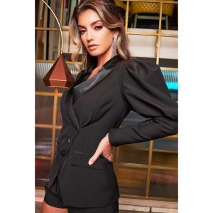 Lavish Alice Puff Sleeve Satin Mix Blazer