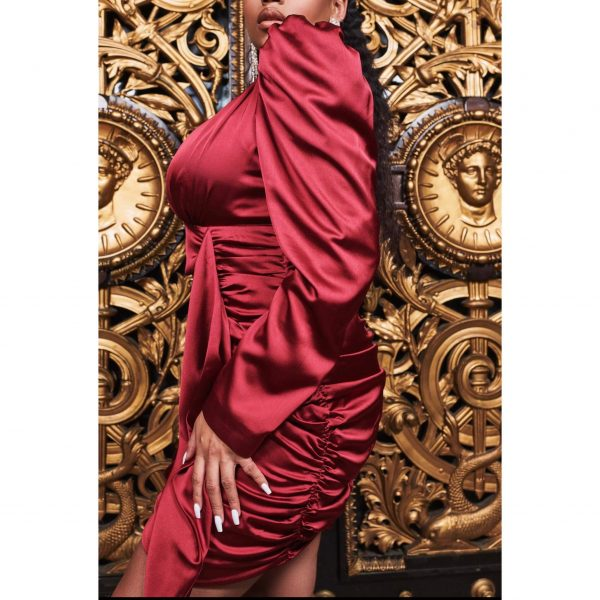 Lavish Alice x Ruby Holley Wine Satin Ruched Dress