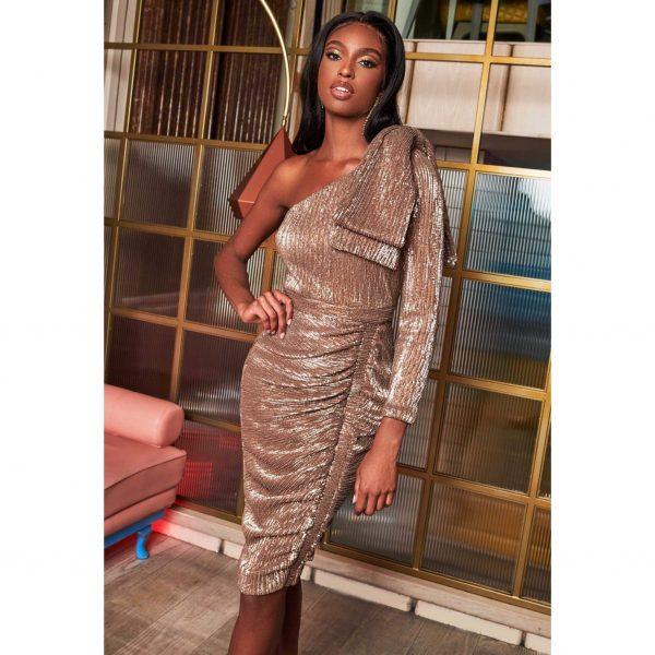 Lavish Alice Gold One Sleeve Bow Shoulder Midi Dress