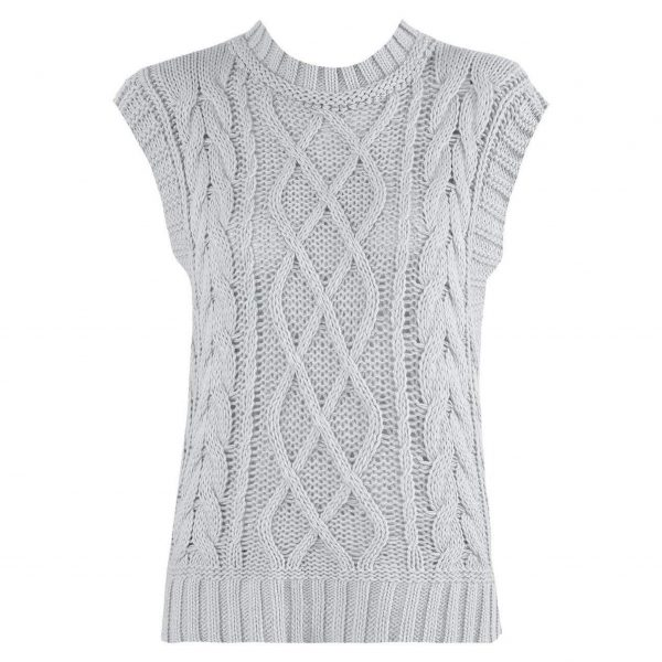 Grey Cable Knit Sleeveless Vest