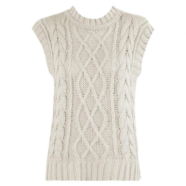 Beige Cable Knit Sleeveless Vest