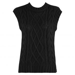 Black Cable Knit Sleeveless Vest