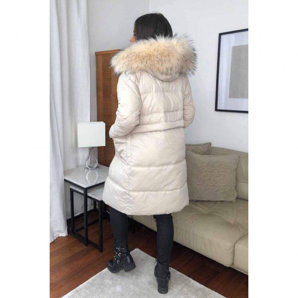PREORDER Cream Midi Puffa Jacket with Fur Trimmed Hood