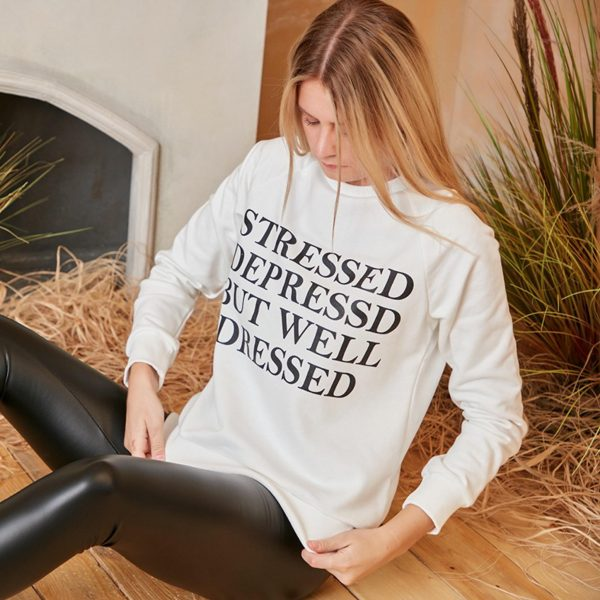 Stressed, Depressed but Well Dressed Jumper White