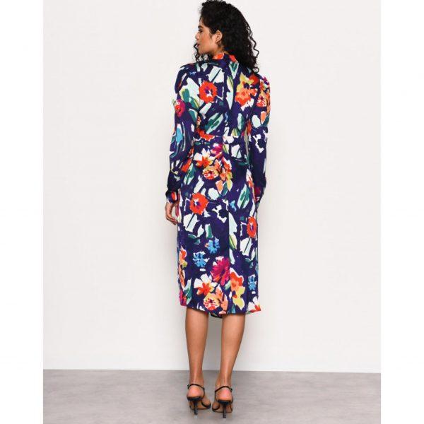 Navy Multi Floral Midi Dress