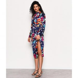 Navy Multi Floral Midi Dress