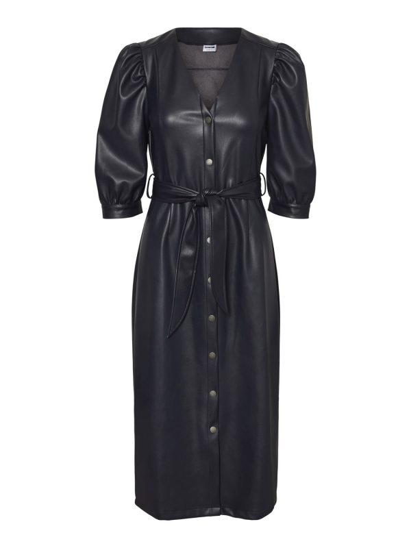 Night Sky Leather Look Button Up Dress