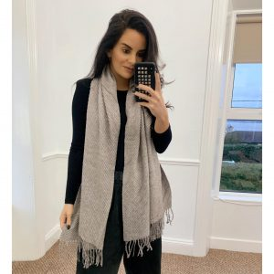 Taupe Ribbed Knit Scarf