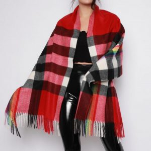 Red Tartan Scarf with Rainbow Print