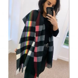 Black Tartan Scarf with Rainbow Print