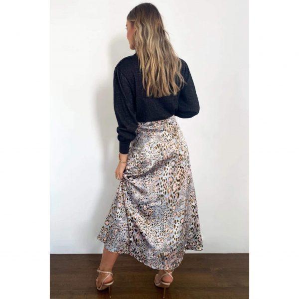 Silver Leopard Satin Midi Skirt