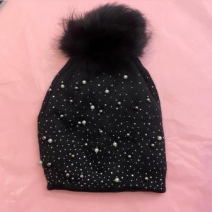 Black Stud and Pearl Hat with Faux Fur Pom Pom
