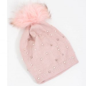 Pink Stud and Pearl Hat with Faux Fur Pom Pom